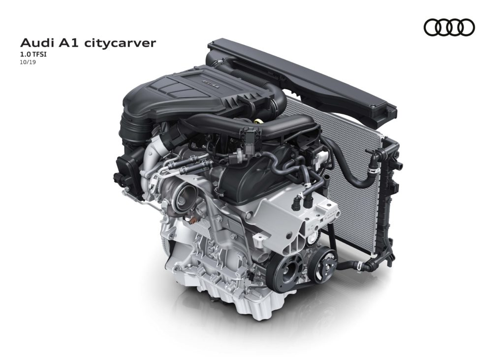 ภาพที่ 06AUDI A1 Citycarver  25 TFSI ใช้เครื่องยนต์ 3 สูบ เทอร์โบ ความจุ 999 ซีซี เคลมตัวเลขอัตราสิ้นเปลืองไว้ที่ 18.18-19.61 กิโลเมตร/ลิตร พร้อมค่า CO2 ต่ำเพียง 124-117 กรัม/กิโลเมตร